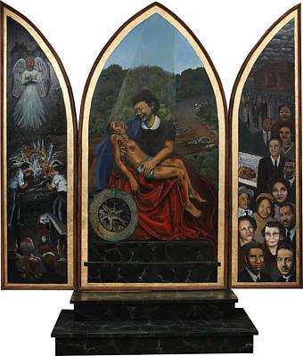 Painting - Emmett Till Memorial Triptych by Art Nomad Sandra  Hansen