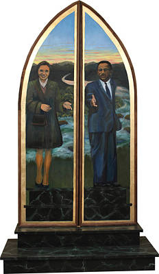 Painting - Emmett Till Memorial Triptych Doors Closed by Art Nomad Sandra  Hansen