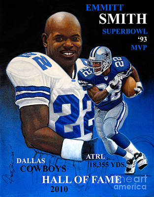 Nfl Legends Painting - Emmitt Smith by Hedward Brooks