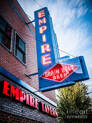 Beer Royalty-Free and Rights-Managed Images - Empire Tavern Sign in Fargo North Dakota by Paul Velgos