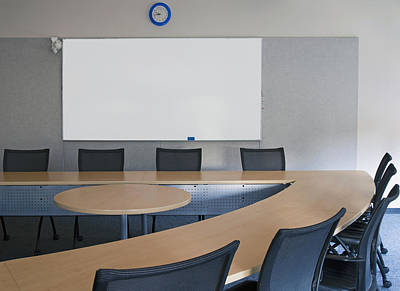 Whiteboard Photograph - Empty Boardroom Or Meeting Room In An by Marlene Ford