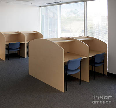 Cubicle Photograph - Empty Carrels by Will & Deni McIntyre