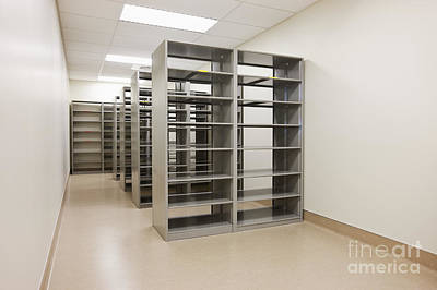 Florescent Lighting Photograph - Empty Metal Shelves by Jetta Productions, Inc
