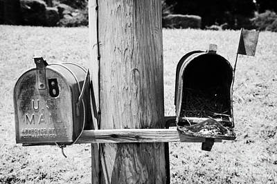 empty old used american private mailboxes one with birdsnest in Lynchburg tennessee usa Art Print by Joe Fox