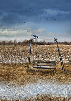 Photograph - Empty Swing After First Snow by Sandra Cunningham