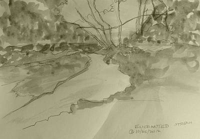 Painting - Enchanted Stream - Monochrome by Joel Deutsch