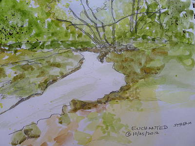 Painting - Enchanted Stream - Watercolor Sketch by Joel Deutsch