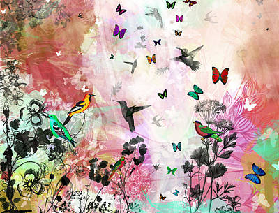 Enchanting Birds And Butterflies Art Print by Carly Ralph