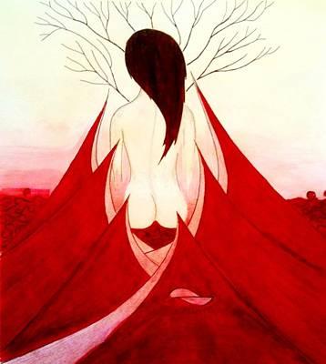 Enchantress Red Print by Fariz Kovalchuk