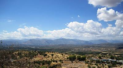 Photograph - Endless Stunning View From The Ancient Hilltop Mountain Range And Archeological In Mycenae Greece by John Shiron