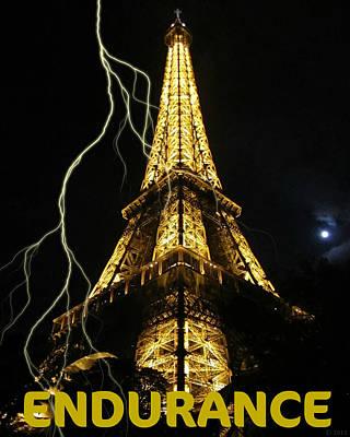 Photograph - Endurance Motivational Lightning At Eiffel Tower by John Shiron