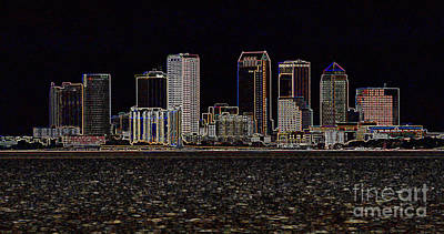 Abstract Skyline Rights Managed Images - Energized Tampa - Digital Art Royalty-Free Image by Carol Groenen