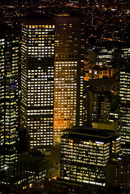 Energy Hungry Office Towers Illuminate Art Print by Jason Edwards
