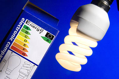 Twisting Boxed Photograph - Energy-saving Light Bulb by Sheila Terry