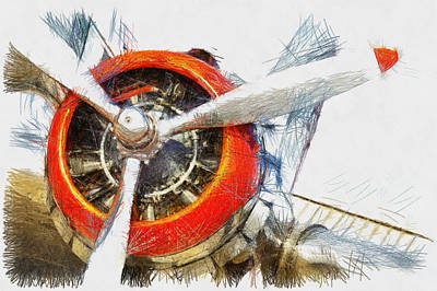 Photograph - Engine Number One - Sketch by Nicholas Evans