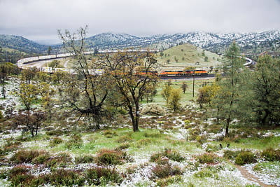 Photograph - Engine Train At Tehachapi Pass Loop In Snow by Connie Cooper-Edwards