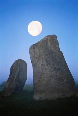 Megalith Photograph - England, Wiltshire, Avebury, Moon Over Avebury Stone Circle by David Hiser