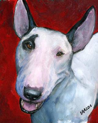 English Bull Dog Wall Art - Painting - English Bull Terrier Looking Up On Red by Dottie Dracos