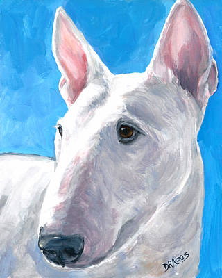English Bull Dog Wall Art - Painting - English Bull Terrier On Blue by Dottie Dracos
