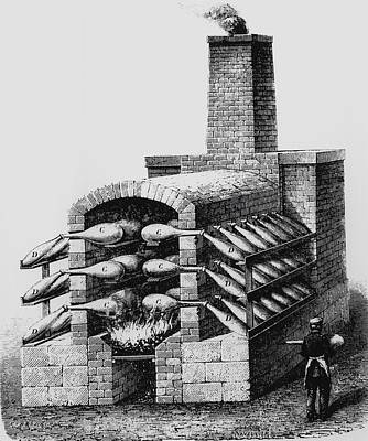Engraving Of Early Kiln For Making Sulphuric Acid Art Print by