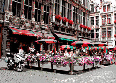 The Grand Place Photograph - Enjoying The Grand Place by Carol Groenen