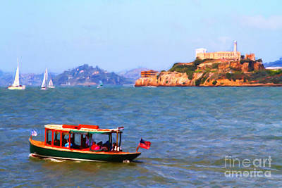 Enjoying The San Francisco Bay With Alcatraz Island In The Distance . 7d14323 Art Print by Wingsdomain Art and Photography