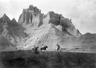 Entering The Badlands, Three Sioux Art Print by Everett