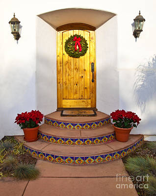 Front Steps Photograph - Entrance To Home With Holiday Decorations by David Buffington