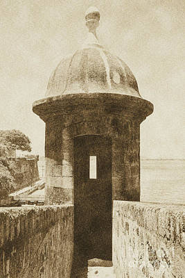 Digital Art - Entrance To Sentry Tower Castillo San Felipe Del Morro Fortress San Juan Puerto Rico Vintage by Shawn O'Brien