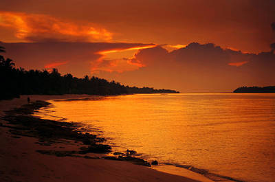 Epic Sunset In The Tropical Maldivian Island Art Print