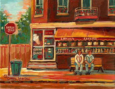 Italian Bakery Painting - Epicerie Latina Montreal by Carole Spandau