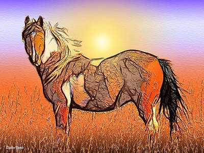 Mixed Media - Equestrian Sunset by Stephen Younts