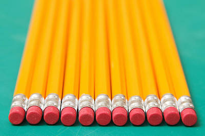 Y120817 Photograph - Eraser-tipped Pencils by Jon Schulte
