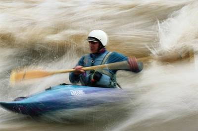 Eric Brown Paddling The Whitewater Art Print