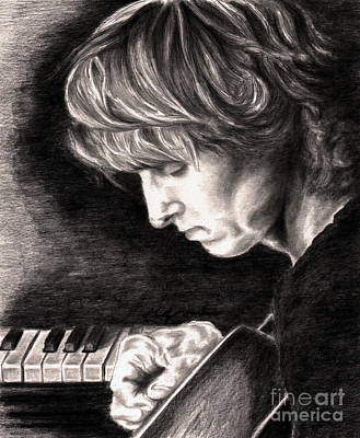 Player Drawing - Eric Johnson by Kathleen Kelly Thompson