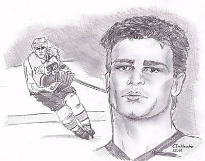 Drawing - Eric Lindros by Chris  DelVecchio