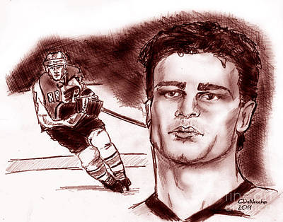 Drawing - Eric Lindros Dk by Chris  DelVecchio
