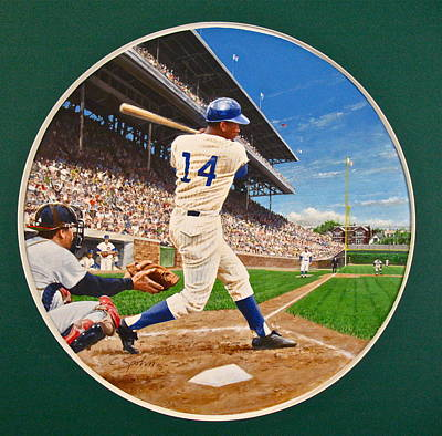 Art Print featuring the painting Ernie Banks by Cliff Spohn