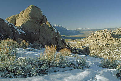Eroded Granite Boulders Overlook Owens Art Print