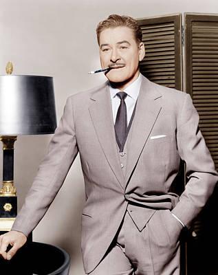 Gray Suit Photograph - Errol Flynn, Ca. 1950s by Everett