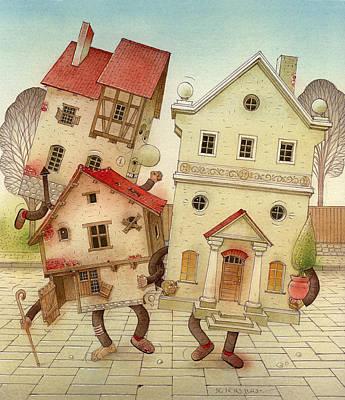 Escaped Houses Art Print by Kestutis Kasparavicius