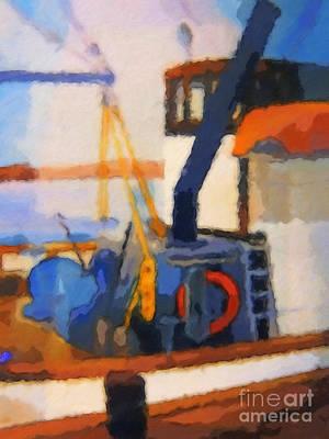 Old Boat Painting - Esmeralda Fishing Boat by Lutz Baar