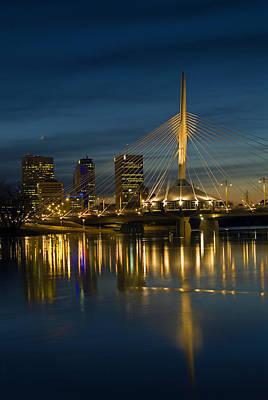 Esplanade Bridge Over Red River Art Print by Mike Grandmailson