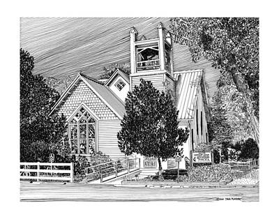 Drawing - Estancia United Methodist Church by Jack Pumphrey