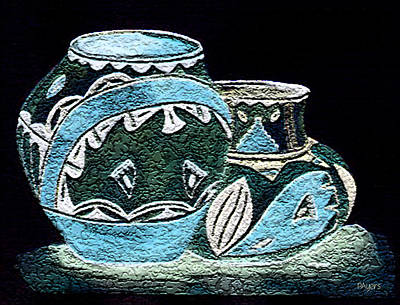 Art Print featuring the painting Etched Pottery by Paula Ayers