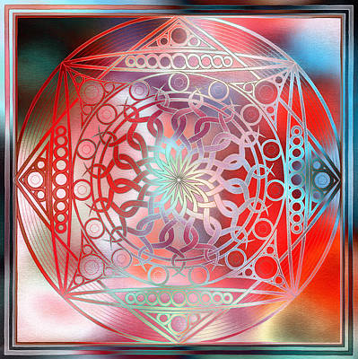 Meditative Digital Art - Eternity Mandala Red And Turquoise by Hakon Soreide