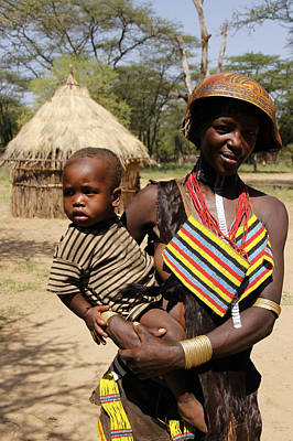 Painting - Ethiopia-south Tribal Mom And Kiddo by Robert SORENSEN