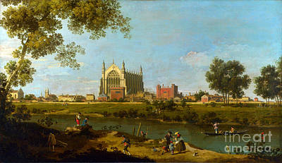 1754 Painting - Eton College By Giovanni Antonio Canaletto by Pg Reproductions