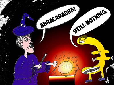 Financial Mixed Media - Euro Abracadabra Caricature by OptionsClick BlogArt