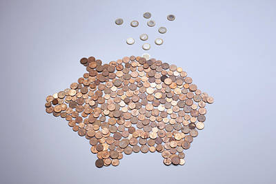 Euro Coins Falling Into A Piggy Bank Made From Arranged European Coins Art Print by Larry Washburn